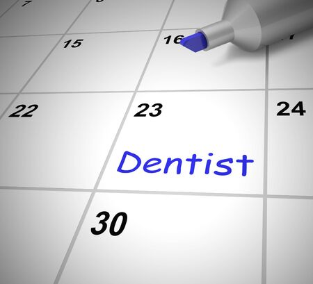 Dentist appointment booked for dental work on teeth. Advanced booking for reservation or treatment - 3d illustration