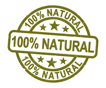 100% natural stamp means completely certified organic. One hundred percent pure and environmentally friendly - 3d illustration