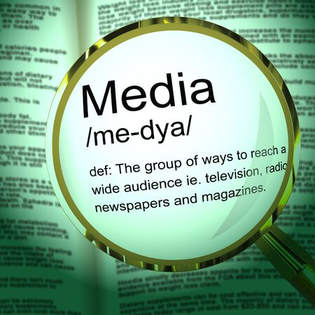 Media concept icon means communication and broadcasting through multimedia. Journalistic and newsworthy coverage - 3d illustration