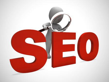SEO concept icon means search engine optimisation for website traffic. Online promotion for ranking and improved sales - 3d illustration Stok Fotoğraf