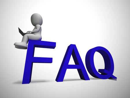 Faq symbol icon means answering questions to help support users or staff. A help desk or hotline for answering queries - 3d illustration Stock fotó