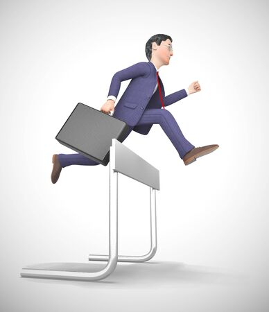 Overcoming obstacles depicted by a man jumping over a hurdle. Rising to the challenge and succeeding - 3d illustration Stock Photo