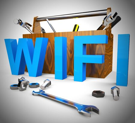 WiFi concept icon means wireless internet connection access. Connected to the web using Airwaves - 3d illustration