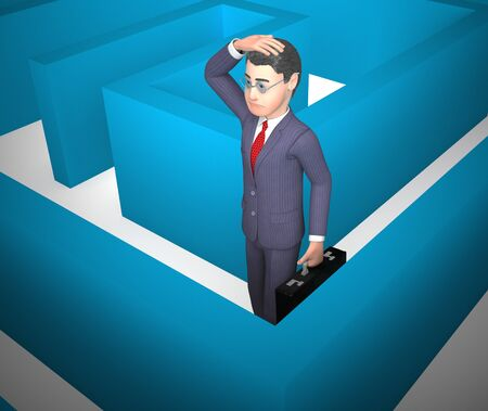 Confused by a maze and Bewildered on solution. Choosing a path or Direction through complexity - 3d illustration Stock Photo