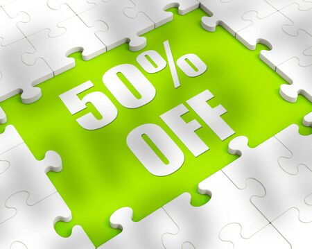 Fifty percent off discount reduction showing 50% less price. Special offer discounted half price product - 3d illustration Stockfoto