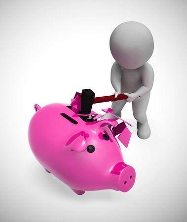 Rozbijanie skarbonki, aby uzyskać dostęp do oszczędności lub gotówki. Przedstawia kryzys finansowy ubóstwo i bankructwo zadłużenia - ilustracja 3d Zdjęcie Seryjne