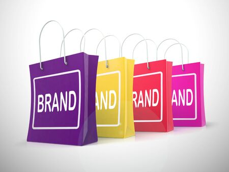 Brand identity shows using a trademark for company recognition.  A logo or trade mark brings awareness to consumers - 3d illustration