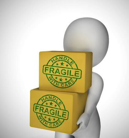 Fragile stamp means handle with care and be careful. Delicate and breakable goods that can easily perish - 3d illustration