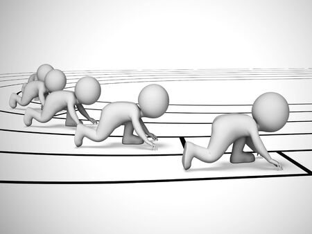 Racing on a running track shows athletes doing athletics. A competitive tournament or sports event - 3d illustration