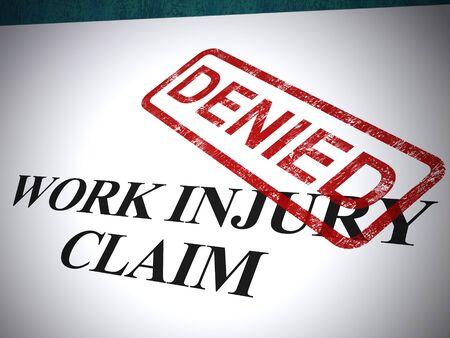 Work injury claim denied stamp means turned down medical expenses. Doctors bills or medical expenses rejected - 3d illustration Stock Photo