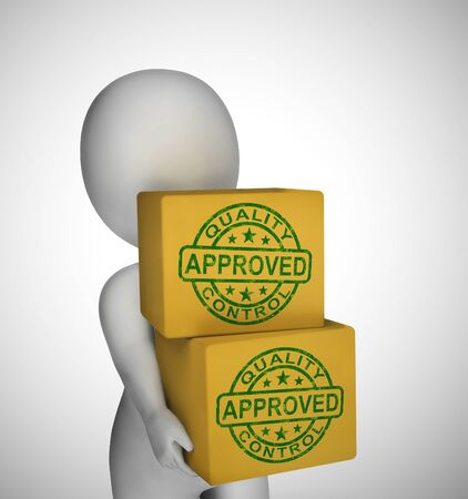 Approved concept icon shows endorsement of a contract to permit authority. Final approval and certification - 3d illustration Stok Fotoğraf