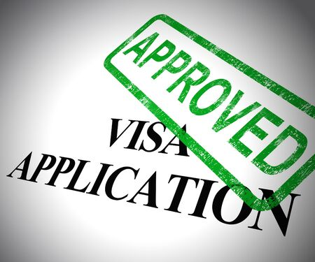 Visa application approved form shows permit or passport entry visa accepted. Confirming the authorisation and agreement - 3d illustration
