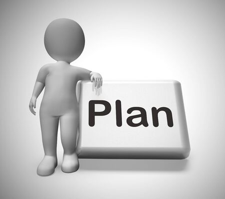 Plan concept icon means preparation and organisation of a project. Arrangements or blueprint of the strategic objectives - 3d illustration Standard-Bild - 128084985
