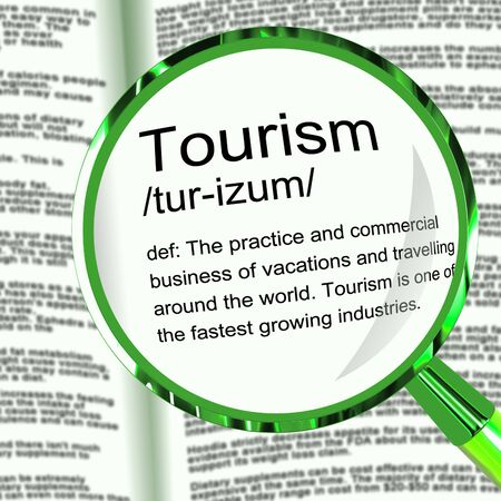 Tourism definition meaning on holiday and having a break. A few days off to visit the beach or tourist attractions - 3d illustration