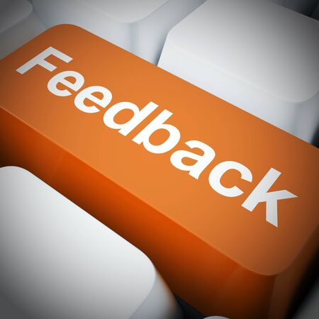 Feedback concept icon means giving a response like criticism or evaluation. An opinion or assessment of a product or service - 3d illustration