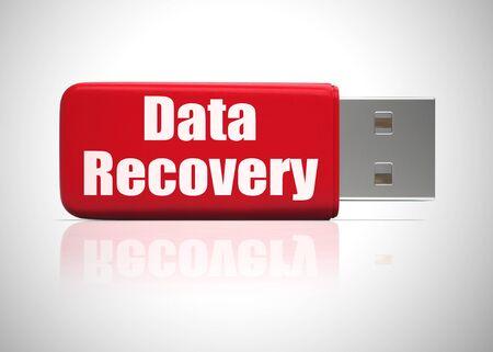 El icono del concepto de recuperación de datos muestra la recuperación de información desde la copia de seguridad. Recuperación del sistema o almacenamiento después de fallas - Ilustración 3d