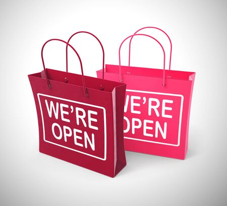 We are open concept means operating or opening times 24 hours. A placard asking shoppers to come in - 3d illustration Stockfoto - 128085051