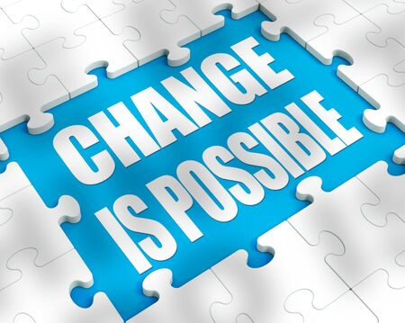 Change is possible concept means thinking positive with new habits. Improved progress and better results - 3d illustration Stock Photo