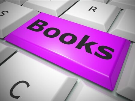 Books key for reading online to gain knowledge and literacy. Printed matter for children or adults wanting learning or escapism - 3d illustration