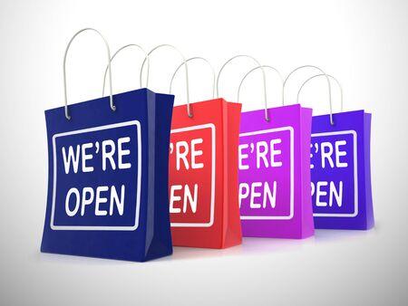 We zijn open concept betekent 24 uur per dag geopend of geopend. Een plakkaat dat shoppers vraagt om binnen te komen - 3d illustratie Stockfoto