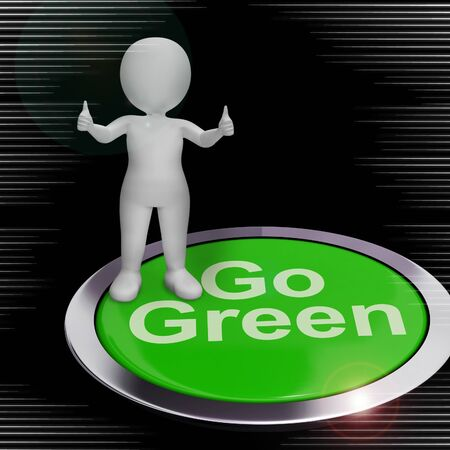 Go green concept icon means environmentally-friendly and ecological. Non polluting and organic products - 3d illustration Stock Photo