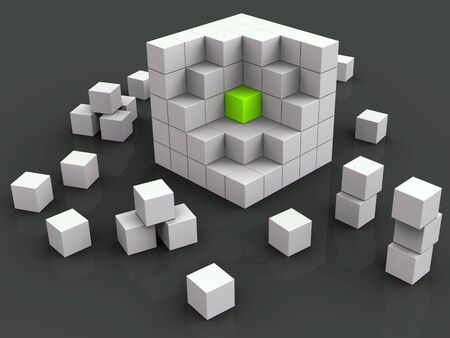 Alone in a crowd is shown by a solo cube amongst many others. Depicts loneliness, solitude or difference - 3d illustration Archivio Fotografico - 128085343