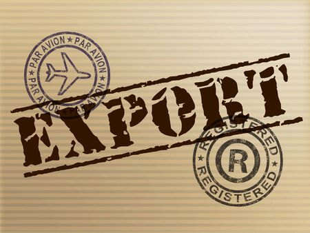 Export concept icon showing exportation of goods and products. Wholesale delivery logistics and shipping - 3d illustration