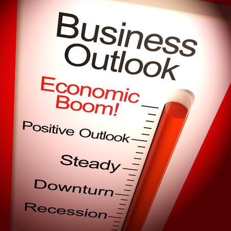 Business outlook to the future of a successful business. A positive outcome from a blueprint or plan - 3d illustration