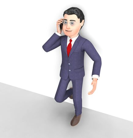 Businessman talking on a mobile phone or cellular device for business or personal. Chatting discussing and conversing - 3d illustration Stock Photo