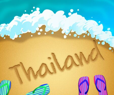 Thai island beach shore representing tourism and vacations in Thailand. An idyllic exotic holiday by the ocean - 3d illustration 写真素材
