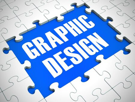 Graphic design concept icon means artwork or infographics by an artist. Visual media and artistic concepts - 3d illustration