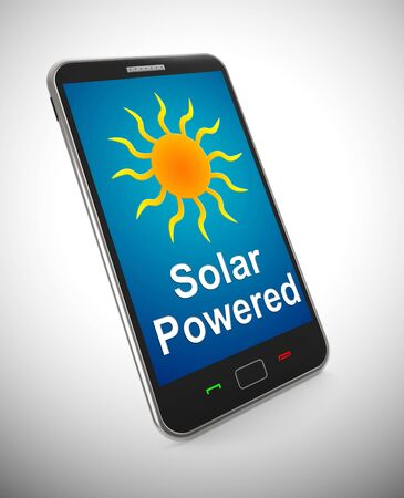 Solar powered mobile phone using electric energy from the sun. Alternative green and eco-friendly generation - 3d illustration Archivio Fotografico - 128085439
