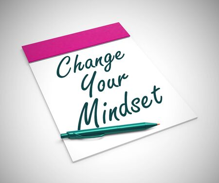 Change your mindset concept means thinking positive with new habits. Improved progress and better results - 3d illustration