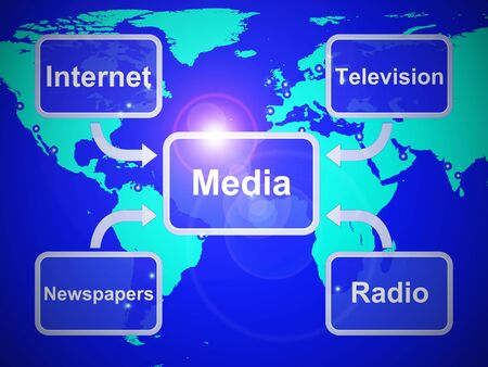 Media concept icoon betekent communicatie en uitzending via multimedia. Journalistieke en nieuwswaardige berichtgeving - 3d illustratie Stockfoto
