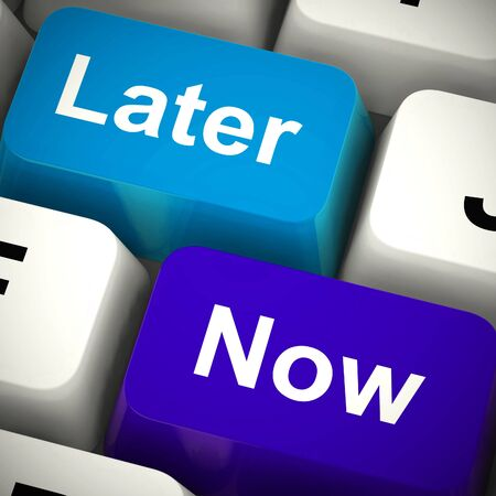 Later now computer keys means dont procrastinate or delay. Stop indecisiveness and idleness - 3d illustration Stock Photo