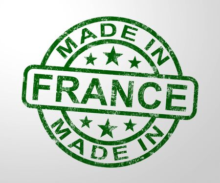 Made in France stamp shows French products produced or fabricated in the EU. Quality patriotic exports for international trade - 3d illustration Фото со стока