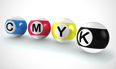 CMYK  used in 4 colour printing and letterpress typography. Publishing and printing at a print shop - 3d illustration