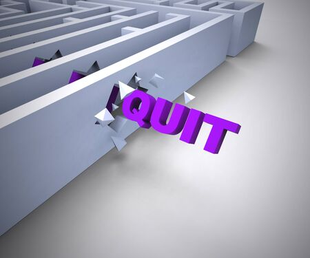 Quit concept icon means to escape or get away. A jailbreak or taking off in a hurry - 3d illustration Stockfoto