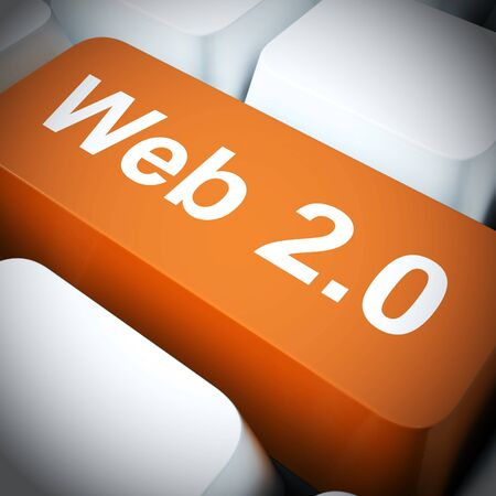 Web 2.0 concept icon means connected to the World Wide Web. Broadband connectivity and access to information - 3d illustration Stock Photo