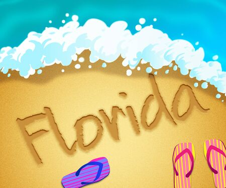 Florida beach shore representing tourism and vacations in America. An idyllic exotic holiday by the ocean - 3d illustration