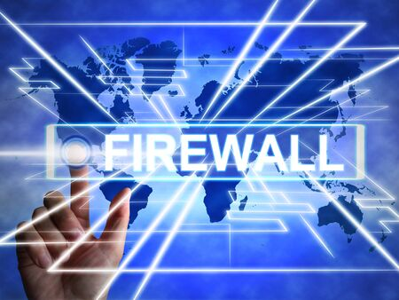 Firewall concept icon means protecting your computer or system from viruses. Software for safeguarding illegal Intruders - 3d illustration Foto de archivo - 128085604