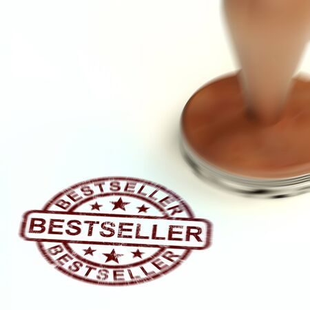 Best seller or bestseller concept icon for top selling products. A collection of smash hit books and publications - 3d illustration Foto de archivo - 128085600