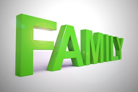 Family concept icon means relatives and kinfolk. Relations and offspring such as children and in-laws - 3d illustration Banque d'images - 128085608