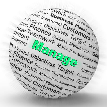 Manage concept icon means supervising and overseeing an operation. Management and controlling a business Project - 3d illustration Foto de archivo - 128085617