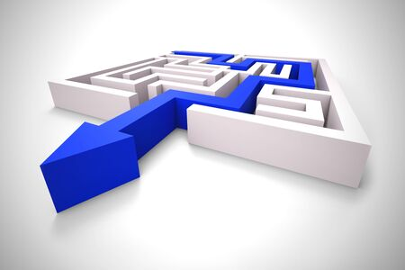 Breaking out of a complex Maze and getting away. Finding a loophole or breaking loose - 3d illustration