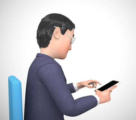 Businessman using a smartphone or mobile device app for information or data. Touch screen appliances and multimedia - 3d illustration Foto de archivo - 128085649