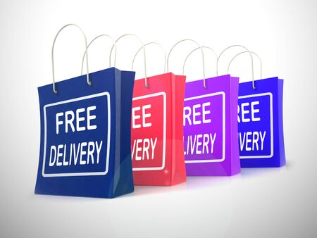 Free delivery of goods at no charge means nothing paid. Shipping price included in the selling amount - 3d illustration Foto de archivo - 128085651