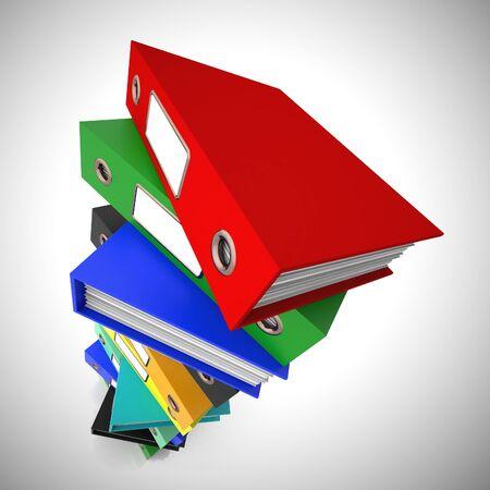 L'icona del concetto di file di cartelle mostra i record di dati per l'archiviazione e la conservazione dei registri. Informazioni per organizzare e archiviare - illustrazione 3d Archivio Fotografico