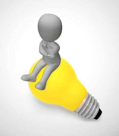 Ideas and inspiration concept depicted by a light bulb. Brainstorming business thoughts and plans - 3d illustration