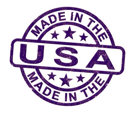 Made in the USA stamp shows American products produced or fabricated in America. Quality patriotic exports for international trade - 3d illustration Foto de archivo - 128085659